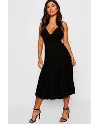 Boohoo Pleated Midi Skirt - Black