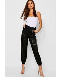 d97d7b7b3afd Forever 21 Chain-accent Cargo Pants in Black - Lyst