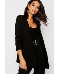 Boohoo Womens Oversized V Detail Ruche Sleeve Blazer - Black - 4