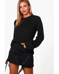 Boohoo - Hannah Wide Maxi Sleeve Rib Knit Jumper - Lyst