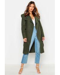 Boohoo Abrigo Con Cuello Grande Y Cinturón - Verde