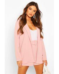 Boohoo Blazer And Self Fabric Belt Short Suit Set - Pink
