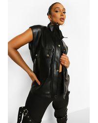 Boohoo Faux Leather Oversized Gilet - Black