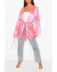 Boohoo Womens Satin Belted Kimono - Pink