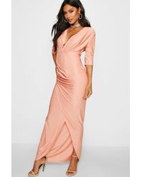 Boohoo - Wrap Top Slinky Maxi Dress - Lyst