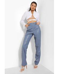 Boohoo Pantalón Premium Efecto Cuero Con Cintura Cruzada - Azul