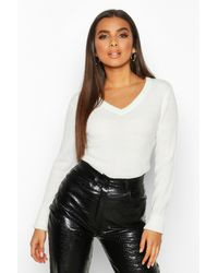 Boohoo V Neck Rib Knit Jumper - White
