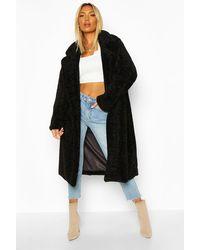 Boohoo Womens Strukturierter Oversized Mantel aus Kunstpelz - Schwarz