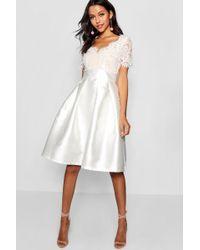 Boohoo - Boutique Eyelash Lace Skater Dress - Lyst