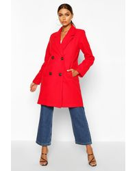 Boohoo Womens Double Breasted Slim Fit Wool Look Coat - Red