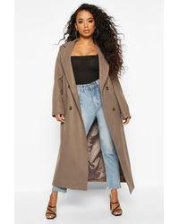 Boohoo Petite Belted Double Breasted Wool Look Coat - Neutro