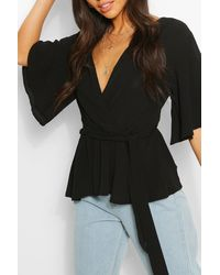 Boohoo Frill Sleeve Blouse - Black