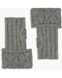 Boohoo Diamond Knit Handwarmers - Grey