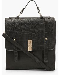 Boohoo Womens Croc Padlock Detail Satchel With Strap - Black