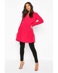 Boohoo Maternity Woven Tiered Smock Tunic - Pink