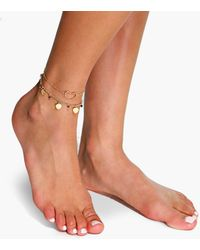 Boohoo - Double Layered Heart Pendant Anklet - Lyst