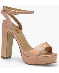 Boohoo - Metallic 2 Part Platform Heels - Lyst