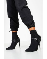 Boohoo Buckle Strap Stiletto Heel Sock Boots - Black