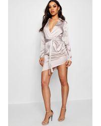 Boohoo - Satin Wrap Detail Dress - Lyst