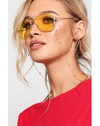 Boohoo Womens Coloured Lens Aviator Sunglasses - Yellow