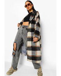 Boohoo Flannel Oversized Wool Look Coat - Brown