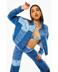 Boohoo Cropped Jean Jacket With Bandana Patchwork - Blue