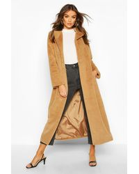 Boohoo Womens Longline Faux Fur Coat - Natur