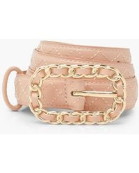 Boohoo Quilted Belt With Chain Detail Buckle - Rosa