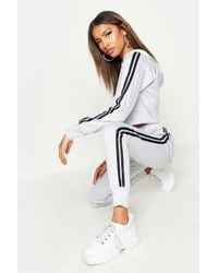 Boohoo Womens Athleisure Sports Stripe Tracksuit - Grey - M/l - Gray