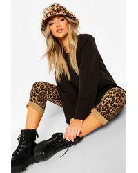 Boohoo Faux Fur Leopard Bucket Hat - Brown