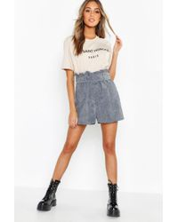 Boohoo Cord Belted Paperbag Shorts - Multicolour