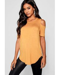 Boohoo Basic Cold Shoulder Curved Hem T-shirt - Yellow