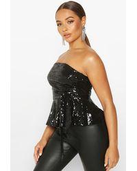 Boohoo Womens Sequin Peplum Tie Waist Top - Black
