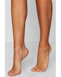 Boohoo - Diamante Silver Anklet - Lyst