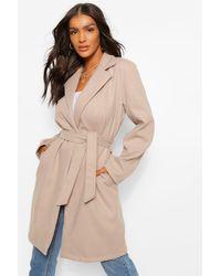 Boohoo Belted Wool Look Coat - Black