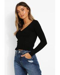 Boohoo Womens Pullover Mit Rüschensaum - Schwarz