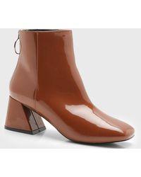Boohoo Patent Low Flare Block Heel Shoe Boots - Brown