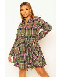 Boohoo Plus Check Tie Waist Shirt Skater Dress - Vert