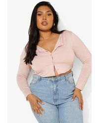 Boohoo - Plus Button Down Long Sleeve Crop Top - Lyst