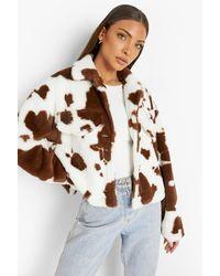 Boohoo Cow Print Faux Fur Jacket - Brown
