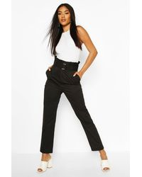 Boohoo - Womens Belted Paperbag Waist D Ring Pants - Lyst