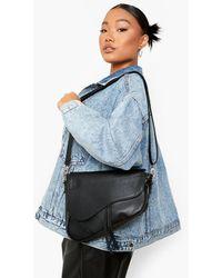 Boohoo Tassel Curve Edge Shoulder Bag - Black