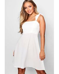 Boohoo Ruched Strap Skater Dress in Red - Lyst 56d14cf43