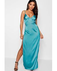 Boohoo - Satin Extreme Split Maxi Slip Dress - Lyst