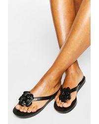 Boohoo Flower Detail Thongs - Black