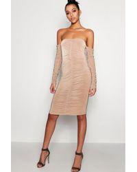 Boohoo - Tall Maya Ruched Off The Shoulder Bodyscon Dress - Lyst