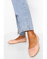 Boohoo Wide Fit Round Toe Ballet Flats - Natural