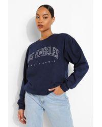 "Boohoo Womens Sweatshirt Mit ""Los Angeles""-Slogan - Blau"