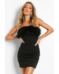 Boohoo Bandeau Feather Mini Bodycon Dress - Nero