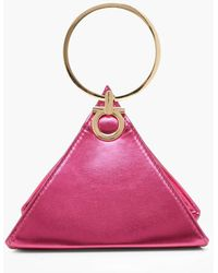 Boohoo Womens Triangle Ring Handle Clutch Bag - Pink - One Size
